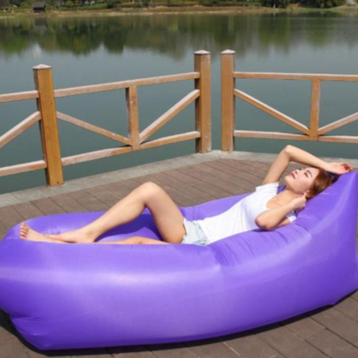Gonflable Sofa-Imperméable à l'eau longue Canapé Sac à Couchage Matelas Portable Lit en Plein Air étanche extérieur-violet