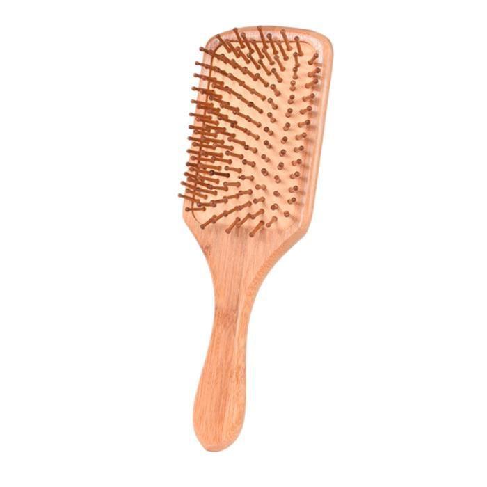 1PC libération de Stress anti-statique bambou naturel Airbag peigne brosse à cheveux démêlant pour un BROSSE MANUELLE - PEIGNE