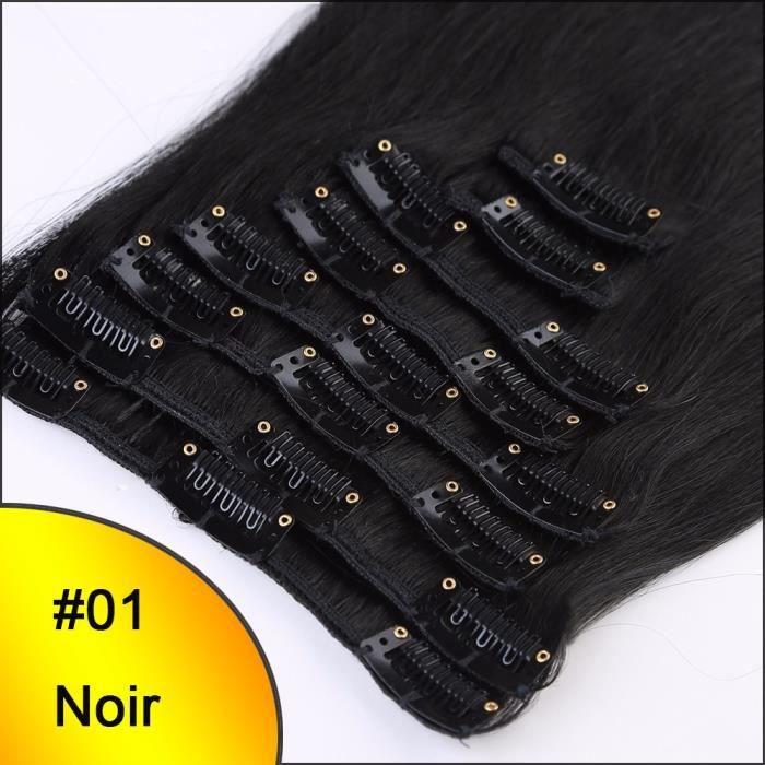 Extensions à Clips en Cheveux Naturels - REMY HAIR - 8Pcs-18Clips(50cm = 70g) - #01 Noir