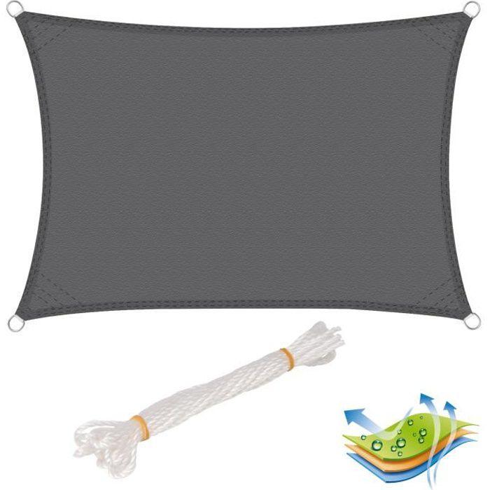WOLTU Voile d'ombrage rectangulaire en polyester, protection contre le soleil avec protection UV pour jardin ou camping,2x4 m, Gris