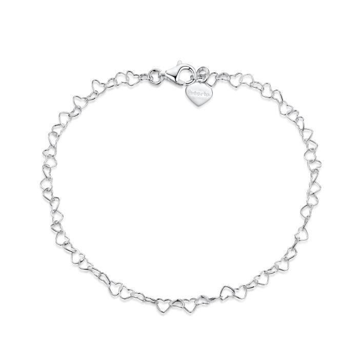 Facilement Ajustable Amberta Bijoux Bracelet de Cheville Cha/îne Argent 925//1000 R/églable 22 /à 25,5 cm
