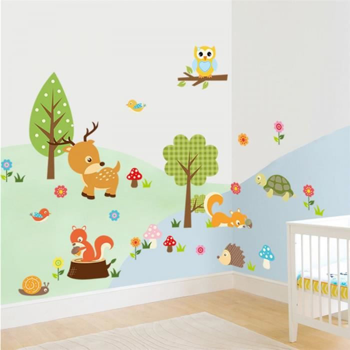 stickers muraux decoration interieur animaux de la for t hibou autocollants pour enfants chambre. Black Bedroom Furniture Sets. Home Design Ideas