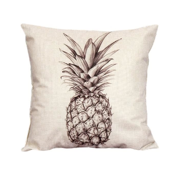 housse de coussin taie d 39 oreiller protecteur d coration 45cm motif ananas croquis achat. Black Bedroom Furniture Sets. Home Design Ideas
