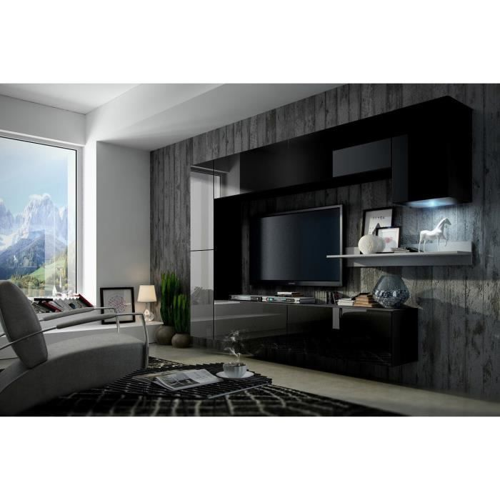 mur tv complet concept 6 black achat vente living meuble tv mur tv complet concept 6 black. Black Bedroom Furniture Sets. Home Design Ideas