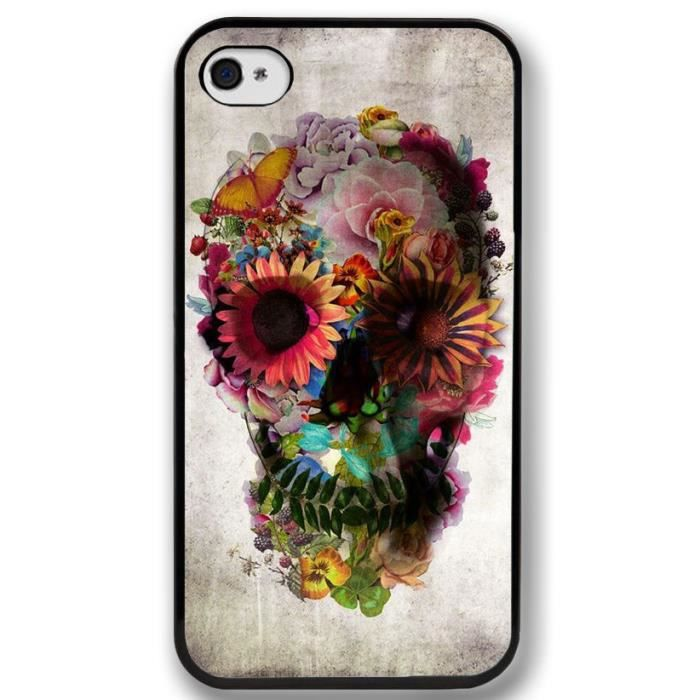 coque iphone 5 5 s t te de mort fleur gothique achat vente coque iphone 5 5 s cdiscount. Black Bedroom Furniture Sets. Home Design Ideas