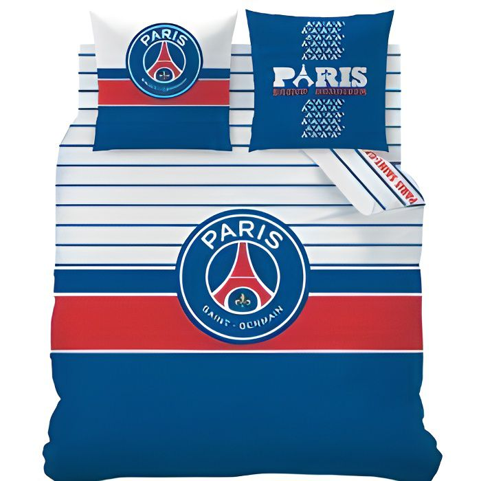 parure de lit psg logo 2 personnes 240x220 cm achat vente parure de drap cdiscount. Black Bedroom Furniture Sets. Home Design Ideas