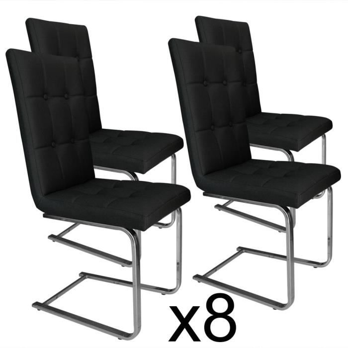 lot de 8 chaises capitonn es brad noir achat vente. Black Bedroom Furniture Sets. Home Design Ideas