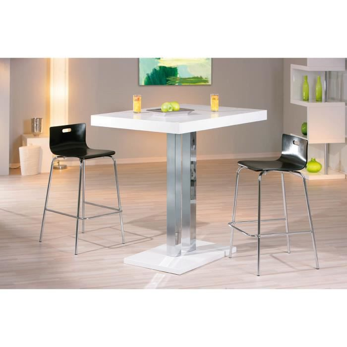 Miliboo table de bar blanc laqu oriana achat vente - Table sejour blanc laque ...