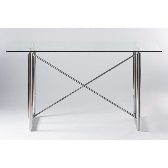 table bureau m tal et verre xora achat vente bureau table bureau m tal. Black Bedroom Furniture Sets. Home Design Ideas