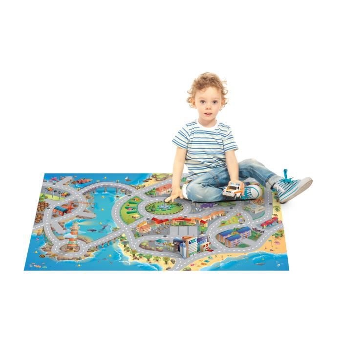 tapis de jeu enfant ville bord de mer bleu univ achat. Black Bedroom Furniture Sets. Home Design Ideas
