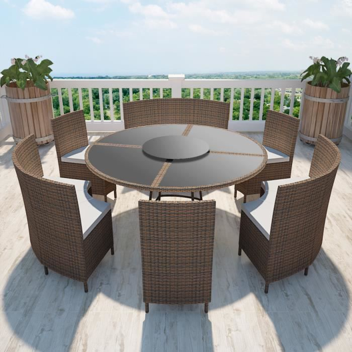 salon de jardin marron en polyrotin table ronde et chaises. Black Bedroom Furniture Sets. Home Design Ideas