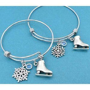 COUPELLE - COUPE GLACE Mère Fille de patinage sur glace Bangle Bracelets