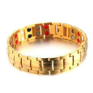 BRACELET - GOURMETTE Bracelet homme - D'or 15mm Double rangée Aimant Ac