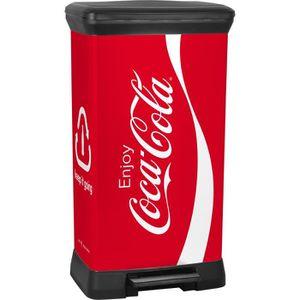 POUBELLE - CORBEILLE CURVER Poubelle à pédale Coca Cola - 50L - Rouge