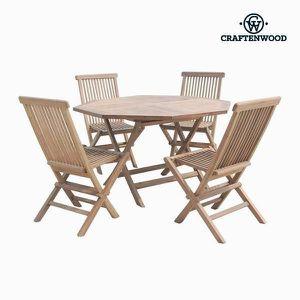Table octogonale avec 4 Chaises en bois de teck - Salon de jardin design