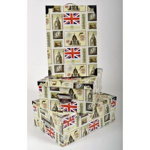 BOITE DE RANGEMENT LONDON Lot de 3 boites de rangement en carton impr
