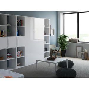 LIT ESCAMOTABLE SMARTBett Basic 120x200  verticale blanc/blanc bri