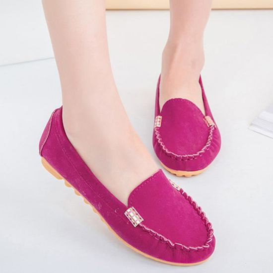Ballerines Ladies Comfy femmes Chaussures souple Slip-On Chaussures bateau Casual  Rose vif  Rose vif - Achat / Vente slip-on