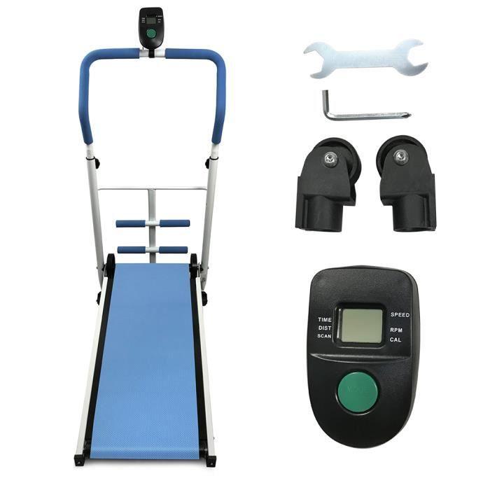 YIS Tapis de Course Mécanique économes en énergie, Sit-ups, Fitness, Tapis roulant pour Maison/Bureau - 88x43.5 cm Bleu