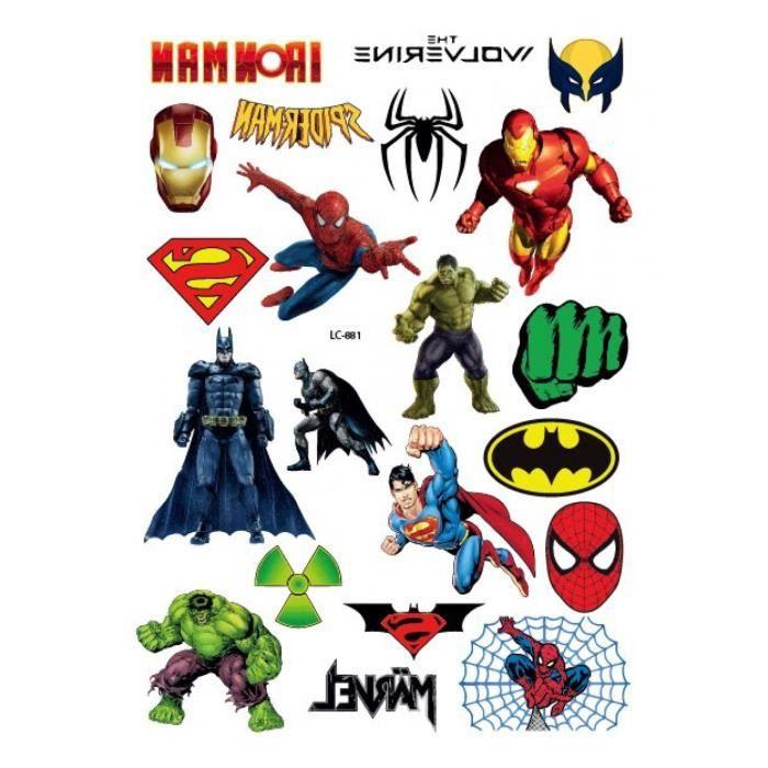 Tatouage Temporaire, LC-881,Rocooart Hulk Thor Wonder femme imperméable enfants dessin animé Super héros Tatuagme visage faux Taty