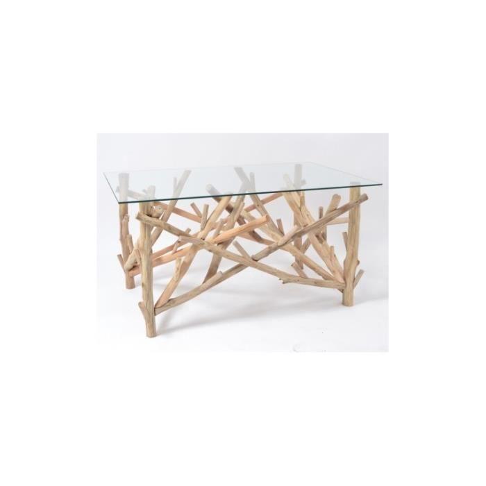Table basse bois flotté et plateau verre TOUNDRA