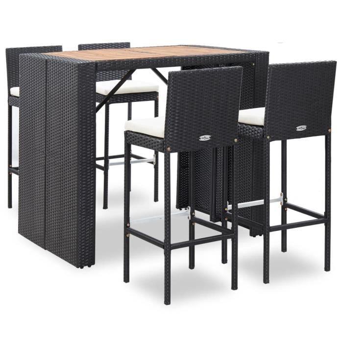Ensemble Table de bar + 4 tabourets bar Mange-Debout Table Haute Résine tressée et bois d'acacia Noir