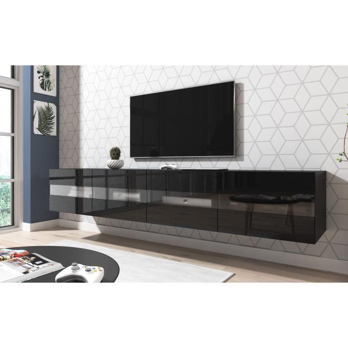 3xeLiving Meuble TV moderne et fonctionnel Murey noir 200 cm