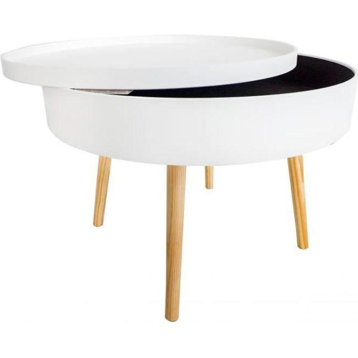 MSTORE - Table basse ronde avec espace de rangement style scandinave - Hauteur 40 cm Diamètre 60 cm - Pieds en bois de pin - Blanc
