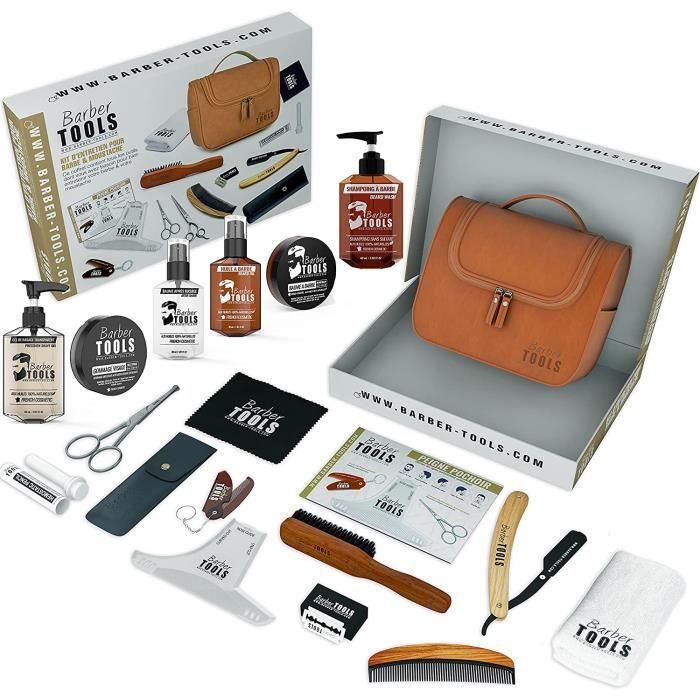 Kit/Set/Coffret CADEAU (15 PRODUITS) d'entretien et de soin pour barbe avec Soin de barbier - Cosmetique