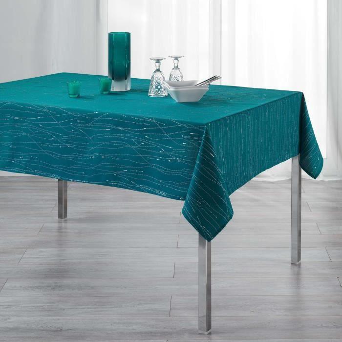 CDaffaires Nappe rectangle 140 x 300 cm polyester applique filiane Petrole