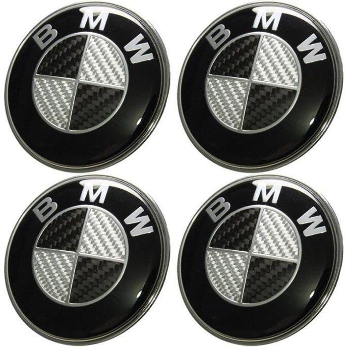 4PCS Logo BMW 68mm Centre De Roue Cache Moyeu Jante Fibre de carbone noir gris insigne