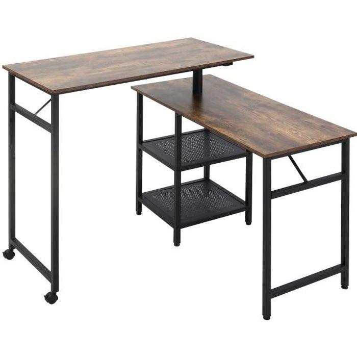 Bureau informatique design industriel modulable bureau d'angle 2 étagères aspect vieux bois métal noir
