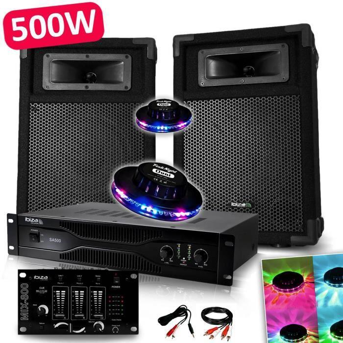 Pack Sono Dj PA 500W 2 Enceintes + Amplificateur 500W + Table de mixage + Câblages + 2 Effets OVNI LED
