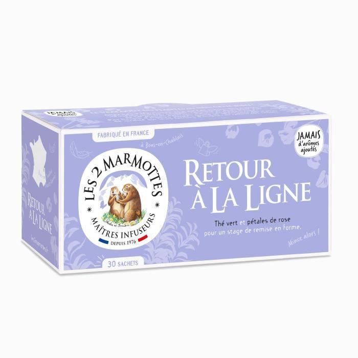 Les 2 Marmottes - Infusion Retour à la Ligne - 30 sachets - Thé vert et pétales de rose - pour Cure Amincissement Remise en Forme