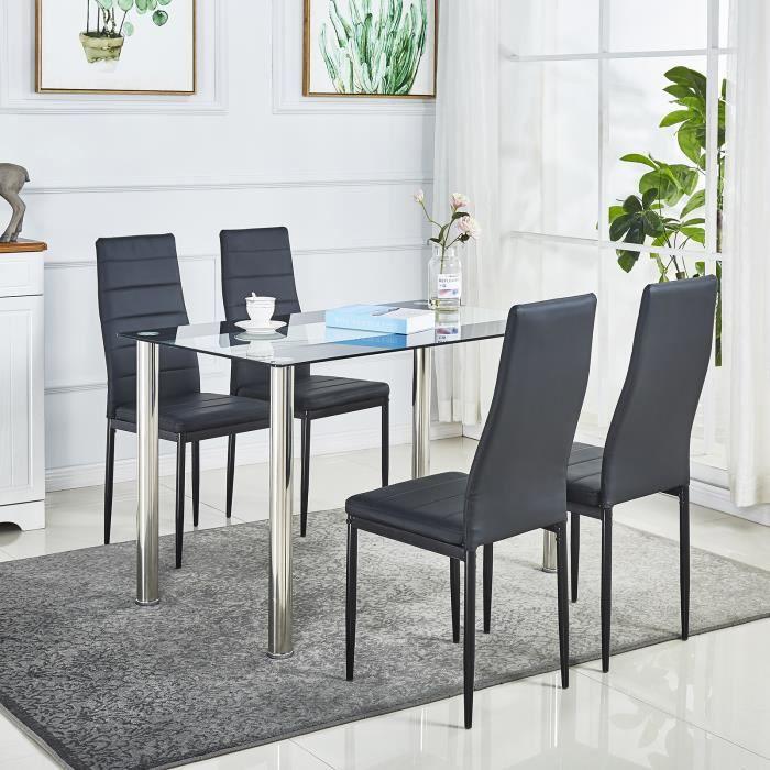 Lot de 4 chaises de salle à manger en simili, cuir artificiel, Style contemporain, noir-Chaise de cuisine, 4 pcs - Mondeer