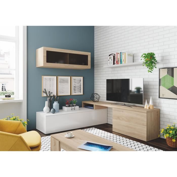 Ensemble meuble télé d'angle ou droit NEXIA bois et blanc