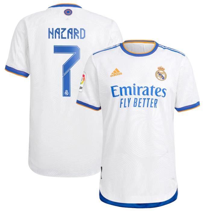 Nouveau Maillot de Foot 7 Eden Hazard Reals Madrids 2021 2022 Pas Cher pour Homme