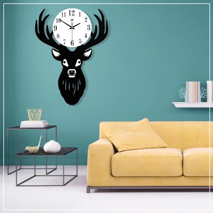 NEUFU Horloge Murale Numérique Tête De Cerf Nordique