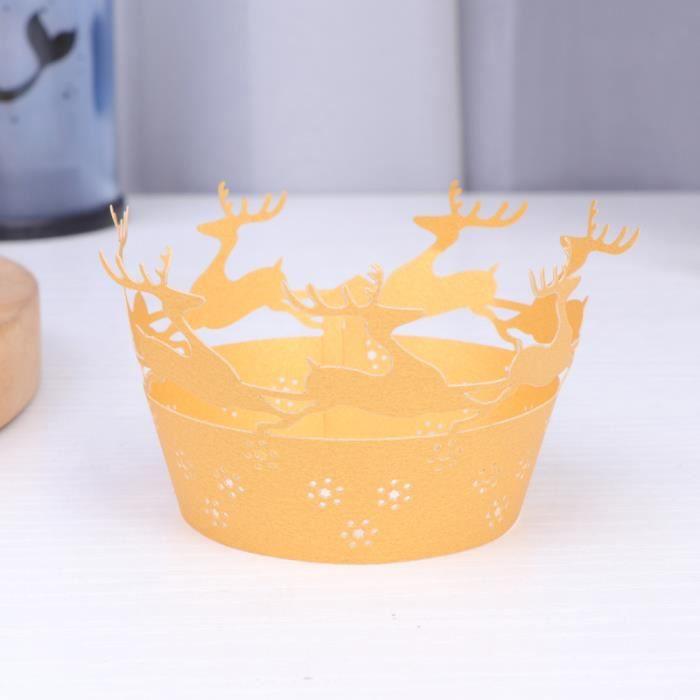 50 PIÈCES De Noël Gâteau Doublure Creux Elk Dessert Muffin Petit Liners Coupes pour la Fête Mariage GATEAU PATISSIER