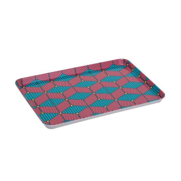 Secret de Gourmet - Plateau en mélamine relax wax 30 x 21.5 cm Wax Turquoise/framboise