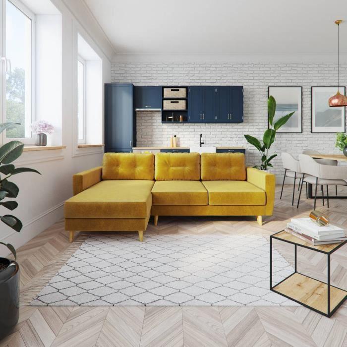Canapé d'angle convertible - BERTRAM - jaune miel - pieds en bois - style classique