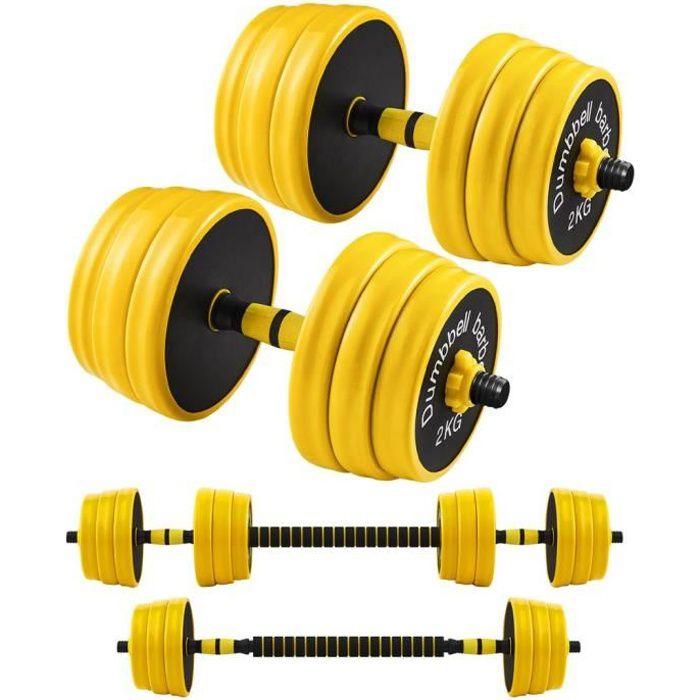 SONGMICS Haltères 2 x 15 kg, Kit de Musculation, Set de Poids Entraînement Fitness, Avec Barre d'Extension, Sport à la Maison, Jaune