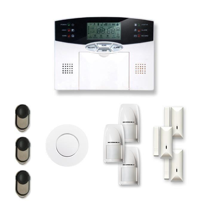 Alarme maison sans fil 3 à 4 pièces MN mouvement + intrusion + détecteur de fumée - Compatible Box Internet