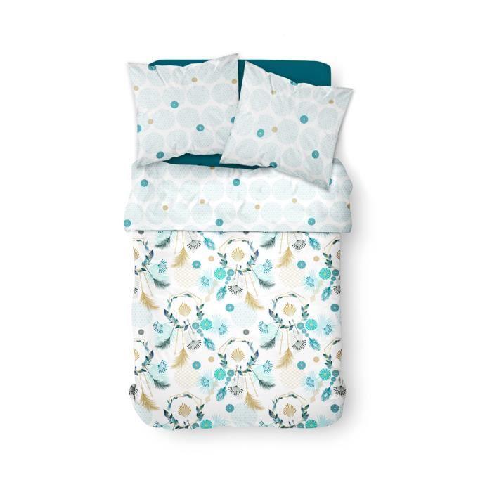 Parure de lit 2 personnes 240X260 Coton imprime blanc Floral SUNSHINE