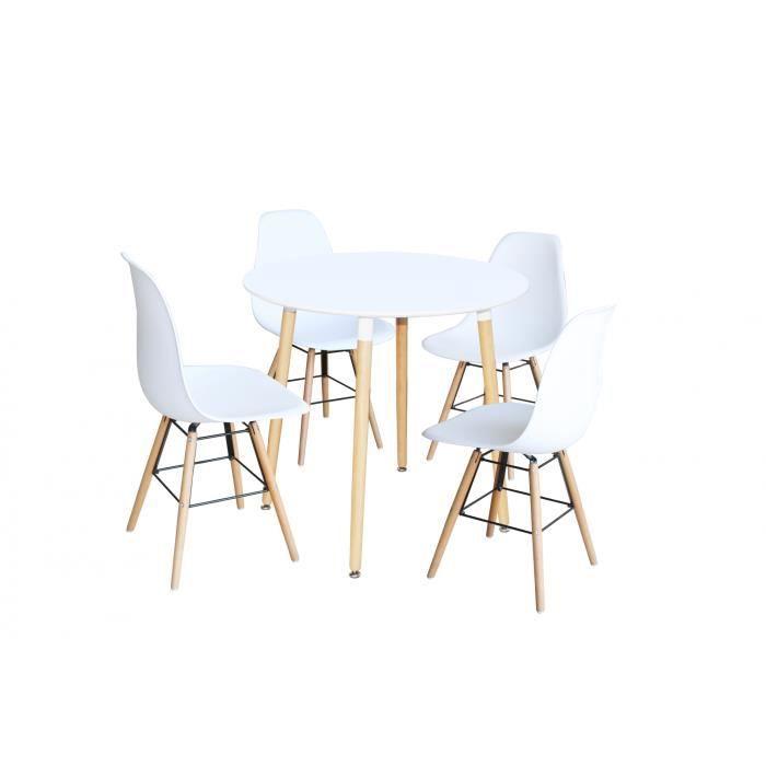 Ensemble table ronde et chaise salle a manger blanc