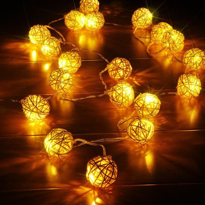 4m guirlande lumineuse avec 20 led boule rotin sepak takraw lumi res usb powered d coration no l. Black Bedroom Furniture Sets. Home Design Ideas