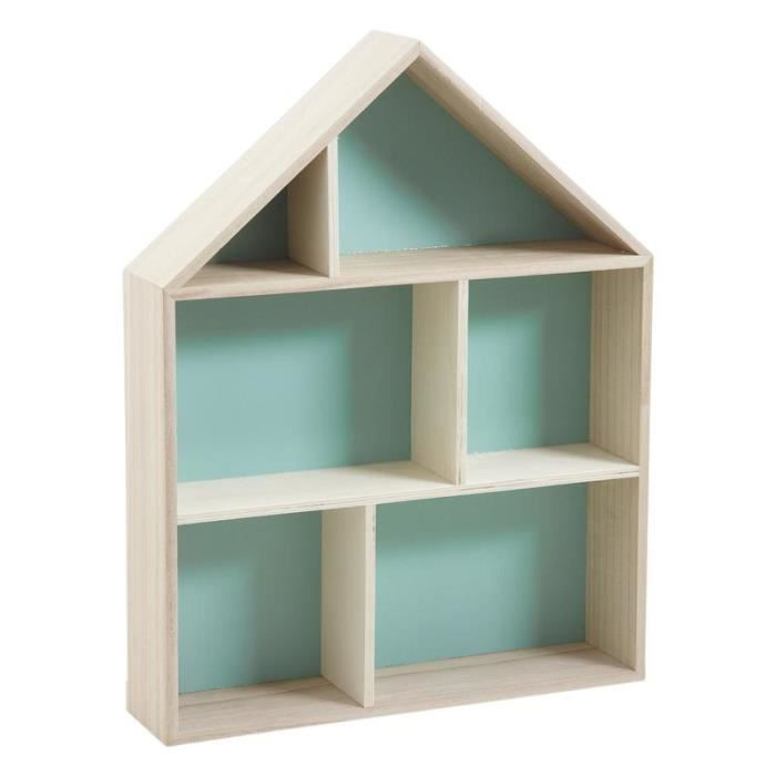 Etag re maison en bois 6 cases achat vente etag re for Bibliotheque en forme de maison