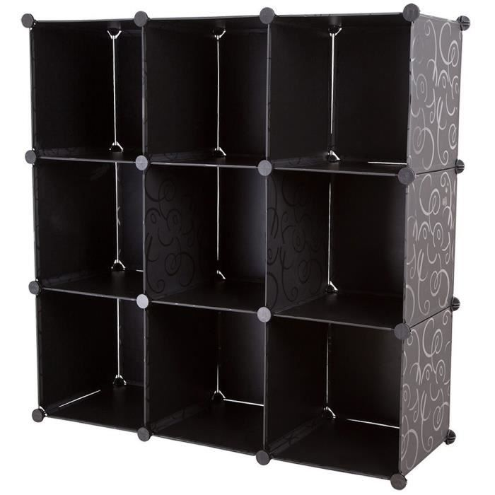 armoire syst me etagere rangement vetement chaussure avec 10 compartiments 110x110x37 cm achat. Black Bedroom Furniture Sets. Home Design Ideas