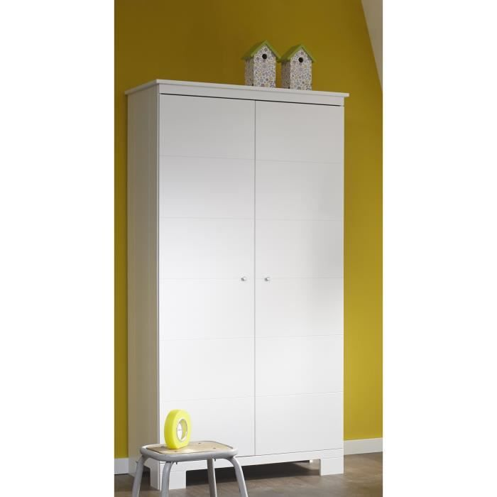 armoire 2 portes moderne coloris blanc achat vente. Black Bedroom Furniture Sets. Home Design Ideas