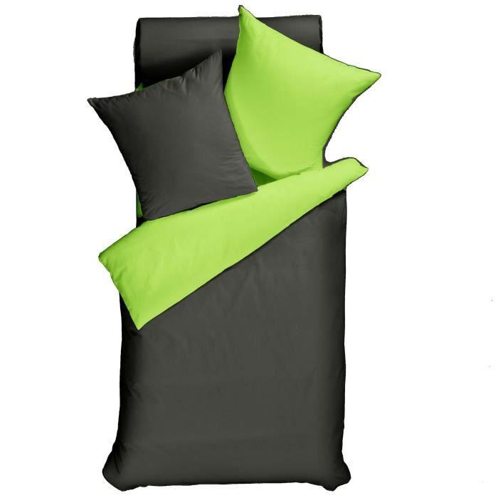 Parure Housse de Couette en 100/% Coton 1 taie doreiller 65x65 cm Bicolore Gris Clair//Gris Moyen 140x200 cm